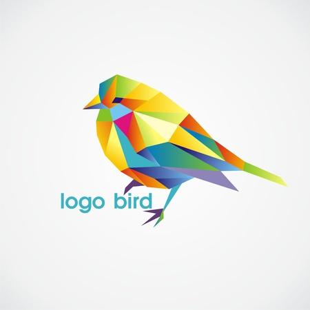 vector logo bird consist of colorful triangles. Vector illustration.