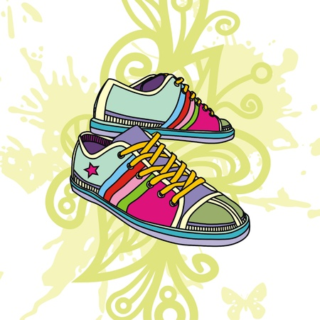 Colorful image of fashion sneakers on floral background. Vector illustration Stock Vector - 17549500