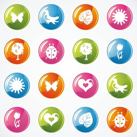 Glossy Icons for Web on the topic spring. Vector illustration Stock Vector - 17549489