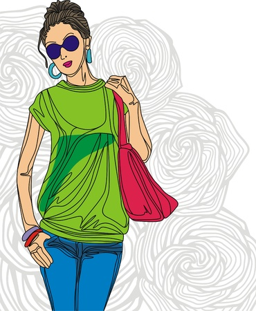 Image of fashion girl on floral background. Vector illustration