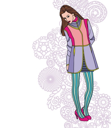Image of fashion girl on floral background. Vector illustration Vector