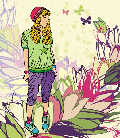 Colorful image with fashion sport girl on floral background. Vector illustration Stock Vector - 17549523