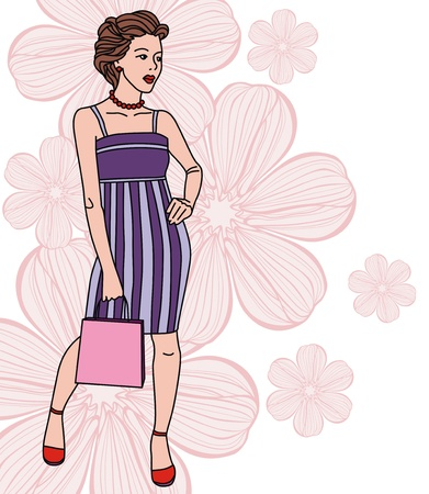 Image of fashion girl on floral background. Vector illustration Stock Vector - 17549521