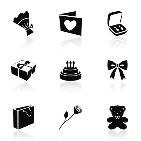 Vector icons on a gift topic. Vector illustration Vector