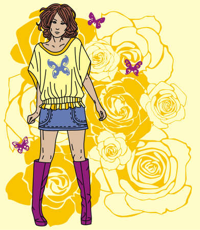 Colorful image with fashion girl on floral background. Vector illustration Stock Vector - 17549511