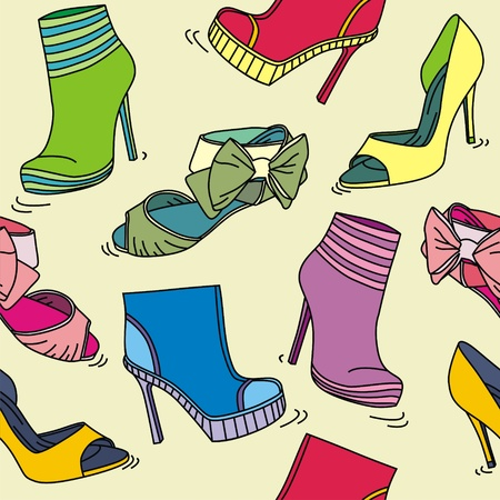 Colorful texture of fashion shoes on yellow background. Vector illustration Stock Vector - 17549485