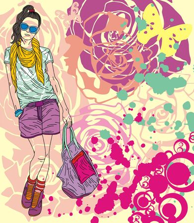 Colorful image with fashion girl on floral background. Vector illustration Stock Vector - 17549512