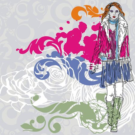 Colorful image with fashion girl on floral background. Vector illustration Stock Vector - 17549517