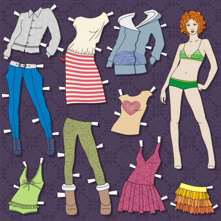paper doll body with cloths for her. this template for cut. Vector illustration