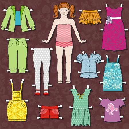 young girl underwear: paper doll body with cloths for her. this template for cut. Vector illustration