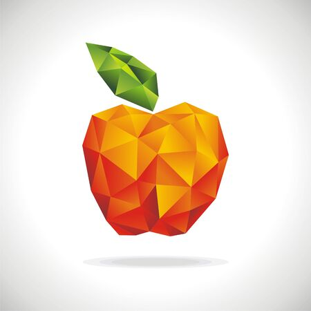image of apple in style origami.  illustration