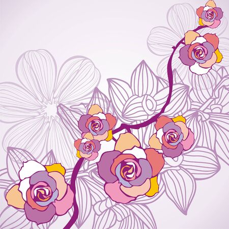 ornate background with colorful flowers. illustration