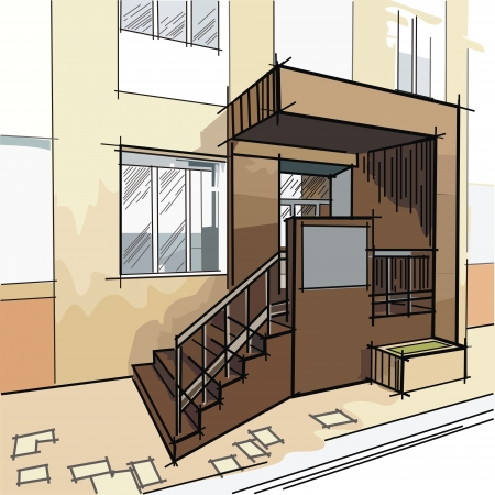 drawing with entrance to the building illustration Vector