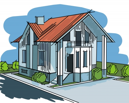 image with house on landscape background illustration Vector