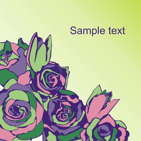 postcard consist of flowers on color background illustration
