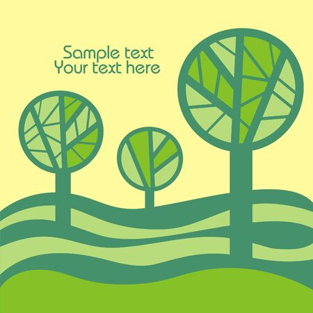 Three green trees on the yellow background. Vector illustration. Illustration