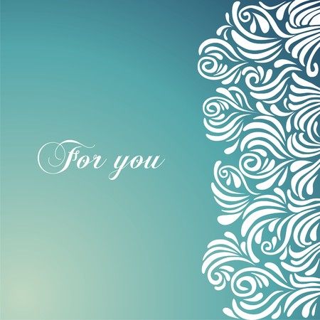 postcard background: Postcard with tracery background. Vector illustration.