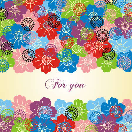 Postcard with colorful flowers on yellow background. Vector illustration.
