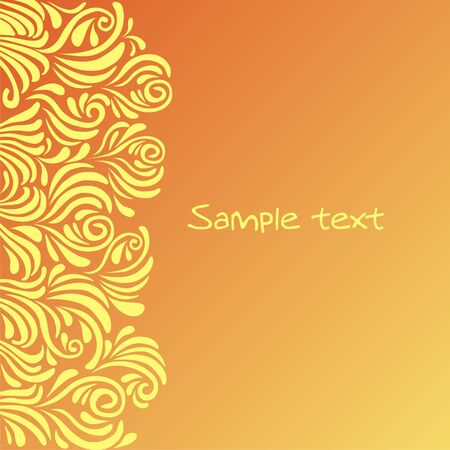 Postcard with yellow patterns on the orange background. Vector illustration.