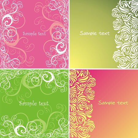 pink backgrounds: Four postcard with white pattern on green and pink backgrounds. Vector illustration. Illustration