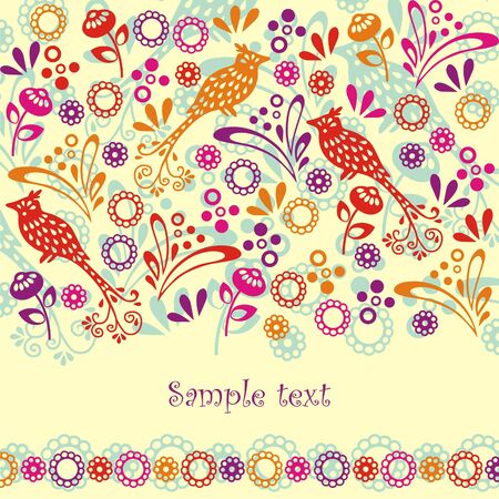 Postcard with colorful birds, flowers and leaves on yellow background. Vector illustration.
