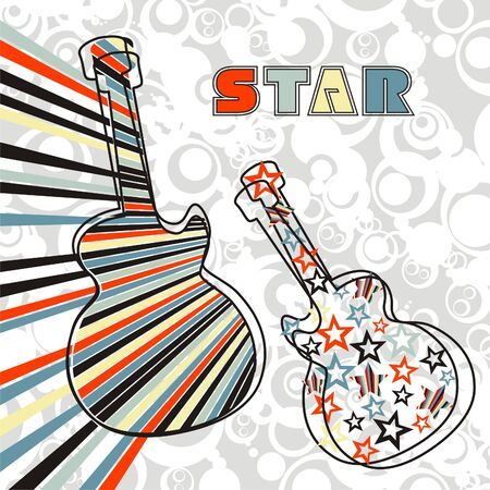 two colored guitars. Vector illustration.