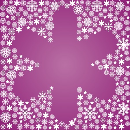 turn of the year: white snowflakes on violet background. Vector illustration Illustration
