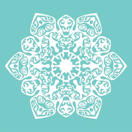 postcard background: postcard with snowflake on color background. Vector illustration