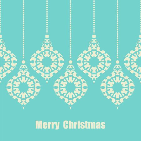postcard background: postcard with christmas decorations on color background. Vector illustration