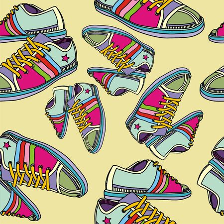 seamless texture with colorful sneakers. Vector illustration