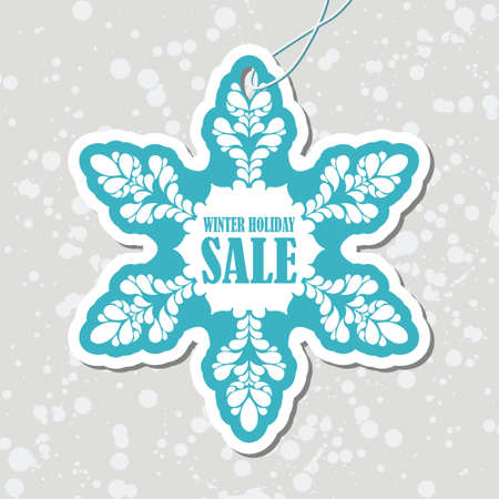 tag: christmas tag in a shape of snowflake. Vector illustration