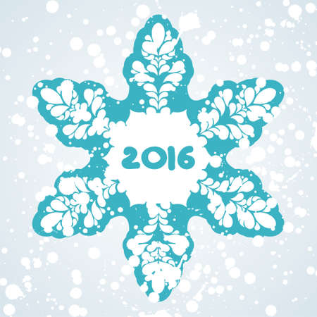 postcard for new year with beautiful snowflake. Vector illustration.