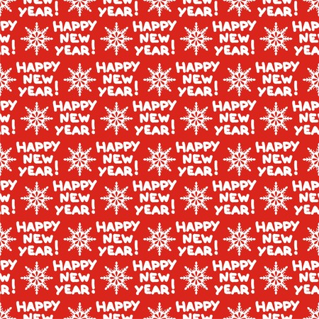 seamless pattern for new year with symbols snowflake and text. Vector illustration