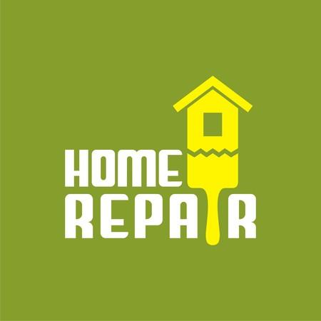 logo con pennello e la casa. Vector logo per società di riparazione. la progettazione di etichette. Illustrazione vettoriale.