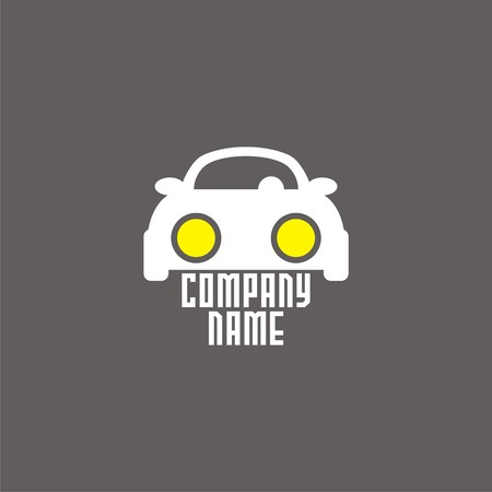 logo with car and bright headlights.  Illustration