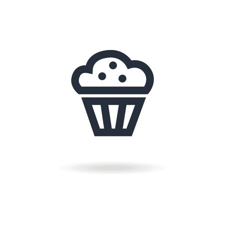 confectionery: icon muffin with cream. icon for confectionery shop or cafe.  Illustration
