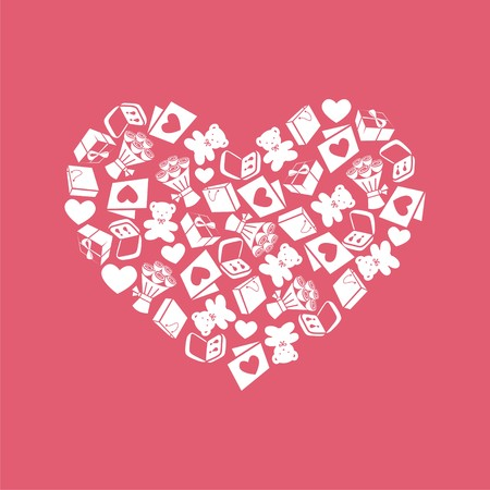 wedding day: vector gift card consists of different elements. for valentines day. card for wedding. Vector illustration