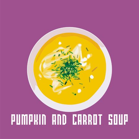 food dish: pumpkin and carrot soup in a white plate.