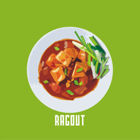 species plate: ragout with meat in a white plate.
