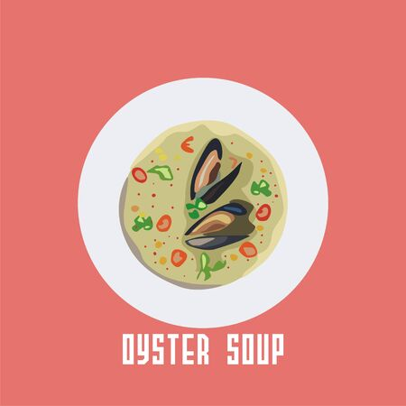 species plate: soup with oyster in a white plate.