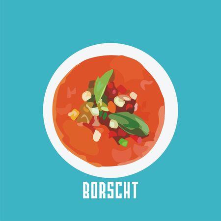 borscht: borscht in a white plate.