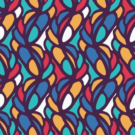 cute graphic: seamless pattern consists of colorful doodles.