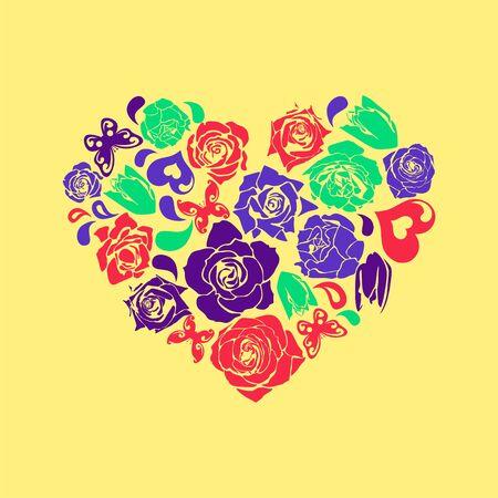 vector floral heart for valentines day. Vector illustration Illustration