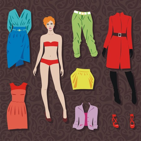 paper doll with set of cloths for cut. Vector illustration
