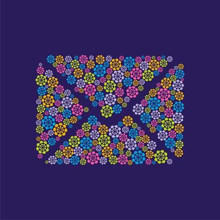Postkarte mit dem Bild von Buchstaben wich besteht aus kleinen Blumen