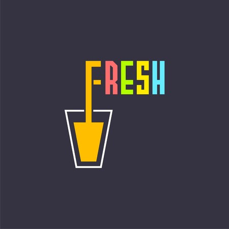 glass of juice and word fresh.