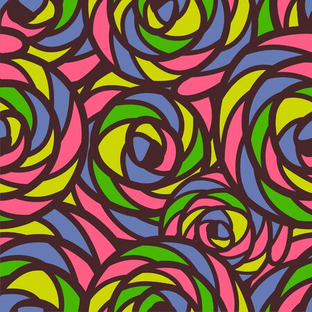 seamless pattern consists of colorful doodles. Vector illustration. Illustration