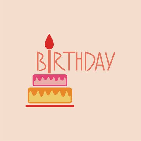 Vector birthday cake with candle. Design logo template. Vector illustration
