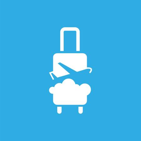 logo with suitcase, plane and sky. Vector design logo. Vector illustration Illustration