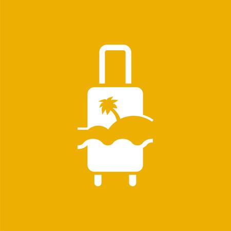 logo with suitcase, palm and beach. Vector design logo. Vector illustration